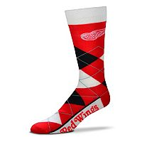 Adult For Bare Feet Detroit Red Wings Argyle Line Up Crew Socks