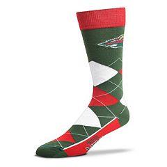 Adult For Bare Feet Minnesota Wild Argyle Line Up Crew Socks