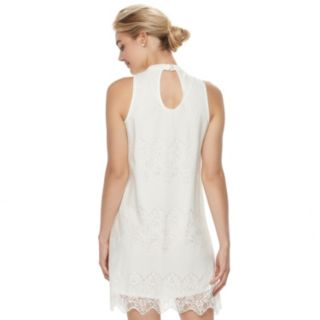 Juniors' Love, Fire Lace Mockneck Shift Dress