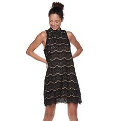 Juniors' Love, Fire Lace Mockneck Shift Dress