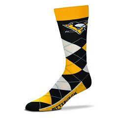 Adult For Bare Feet Pittsburgh Penguins Argyle Line Up Crew Socks