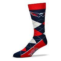Adult For Bare Feet Washington Capitals Argyle Line Up Crew Socks