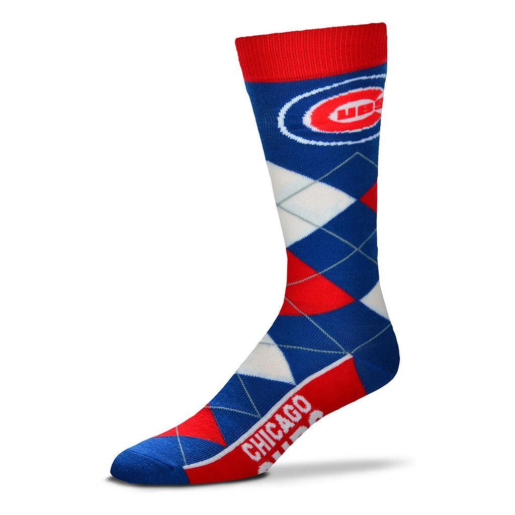 Adult For Bare Feet Chicago Cubs Argyle Line Up Crew Socks