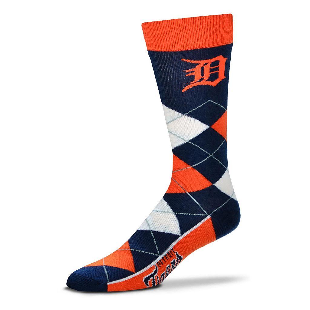 Adult For Bare Feet Detroit Tigers Argyle Line Up Crew Socks