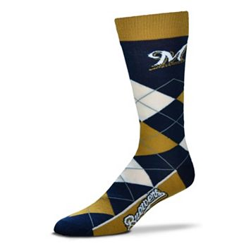 Adult For Bare Feet Milwaukee Brewers Argyle Line Up Crew Socks