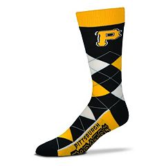 Adult For Bare Feet Pittsburgh Pirates Argyle Line Up Crew Socks