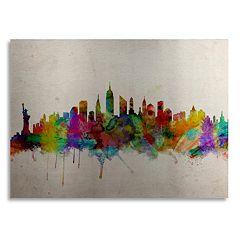 Trademark Fine Art 'New York Skyline' Floating Brushed Aluminum Wall Art
