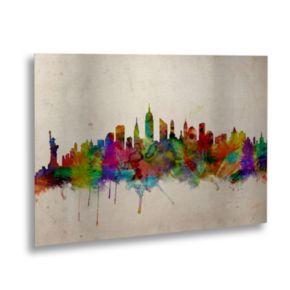 "Trademark Fine Art ""New York Skyline"" Floating Brushed Aluminum Wall Art"