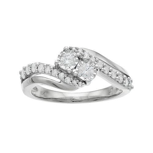 10k Gold 1/2 Carat T.W. Diamond 2-Stone Bypass Engagement Ring
