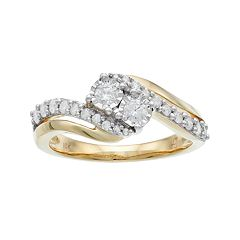 10k Gold 1/2 Carat T.W. Diamond 2-Stone Bypass Engagement Ring