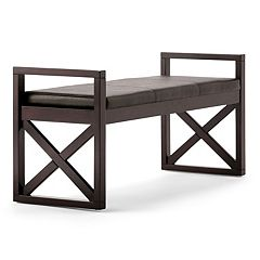 Simpli Home Rockchapel Faux-Leather Bench