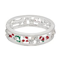 Candy Striped Openwork Hinged Bangle Bracelet