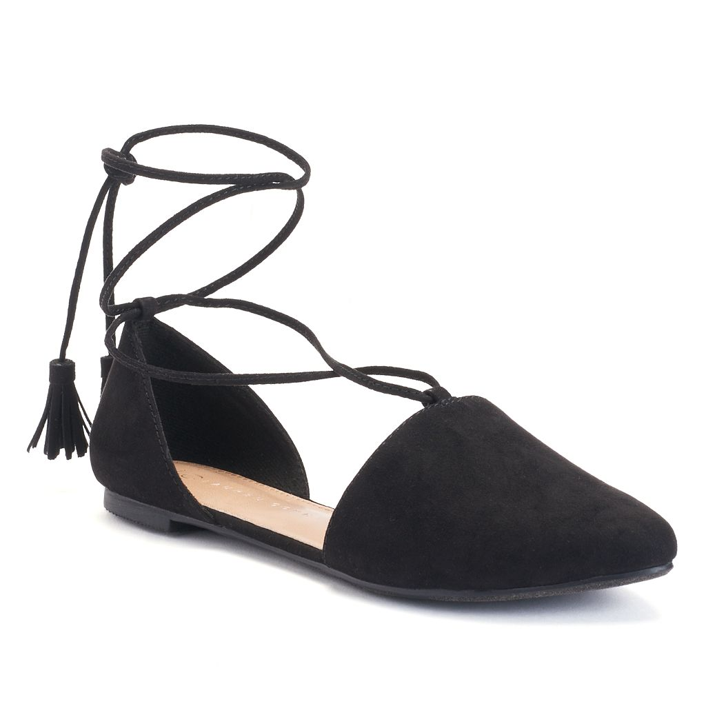 LC Lauren Conrad Women's Lace-Up D'Orsay Flats