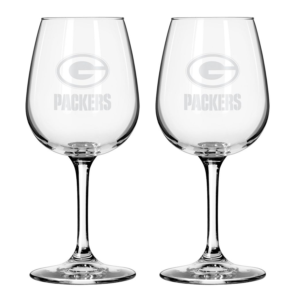 Boelter Green Bay Packers 2-Pack Etched Wine Glasses