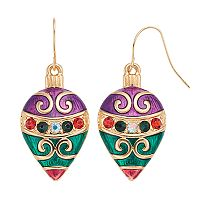 Colorblock Ornament Nickel Free Inverted Teardrop Earrings