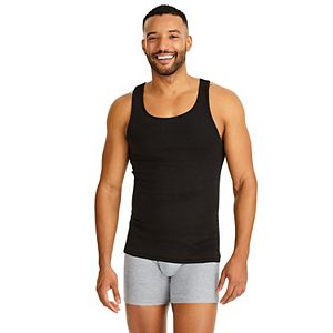 fc21a3716f6f6 Men s Fruit of the Loom Signature Super Soft Black Grey A-Shirt (6-pack)