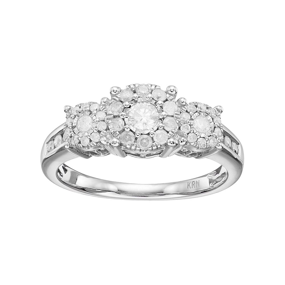 Sterling Silver 1/2 Carat T.W. Diamond 3-Stone Cluster Engagement Ring
