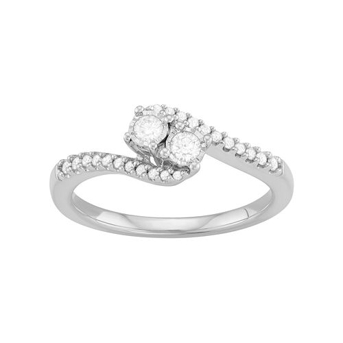 Sterling Silver 1/4 Carat T.W. Diamond 2-Stone Bypass Engagement Ring