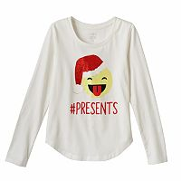 Girls 7-16 & Plus Size SO® Long Sleeve Curved Hem Holiday Glitter Graphic Tee