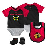 Baby Reebok Chicago Blackhawks 3-Piece Bodysuit Set