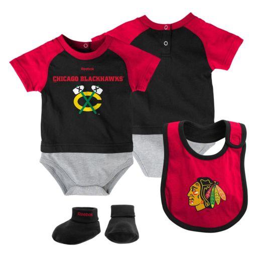 Baby Reebok Chicago Blackhawks 3-Piece Bodysuit Set