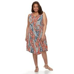 Plus Size World Unity Printed Crochet-Back Dress