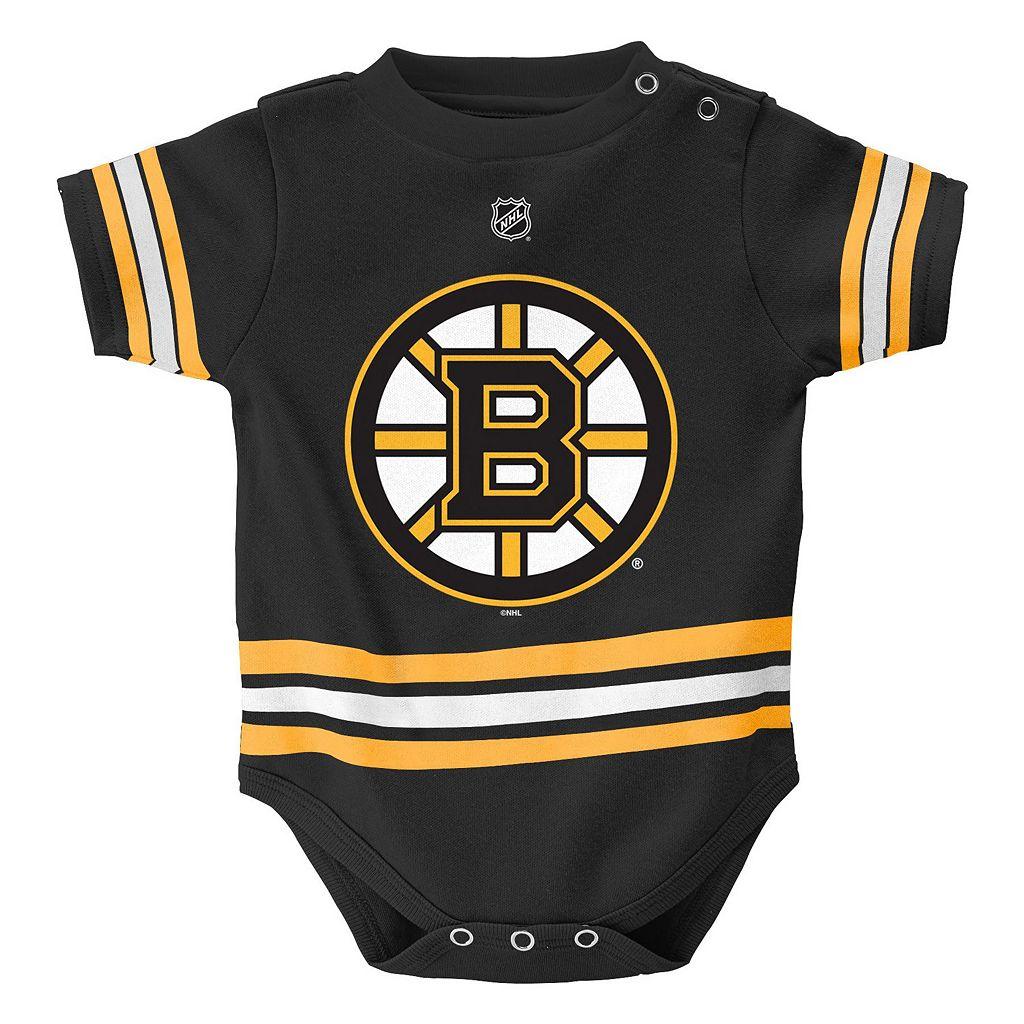 Baby Reebok Boston Bruins 3-Piece Jersey Bodysuit Set