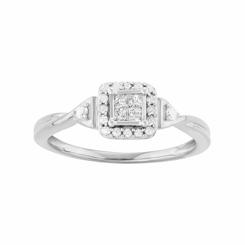 Sterling Silver 1/4 Carat T.W. Diamond Square Cluster Engagement Ring