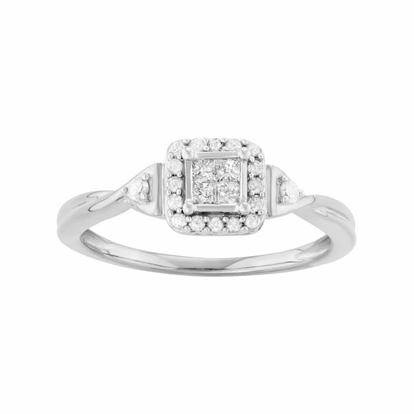 Sterling Silver 1 4 Carat T W Diamond Square Cluster Engagement Ring