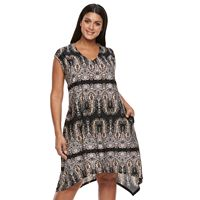 Plus Size World Unity Scroll Crochet-Back Dress