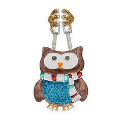 Springy Antlers Glittery Owl Pin
