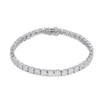 10k White Gold 2 Carat T.W. Diamond Cluster Tennis Bracelet