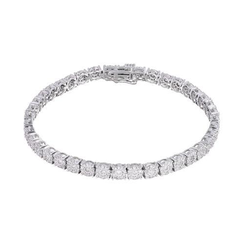 10k White Gold 2 Carat T W Diamond Cluster Tennis Bracelet