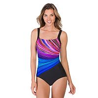 Women's Reebok Fire Water Rainbow Striped One-Piece Swimsuit