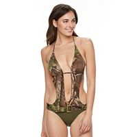 Juniors' Realtree Camouflage Belted Monokini Swimsuit