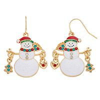 Christmas Tree & Heart Charm Snowman Nickel Free Drop Earrings