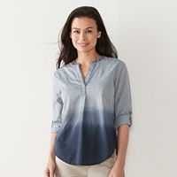 Petite SONOMA Goods for Life™ Dip-Dyed Roll-Tab Shirt