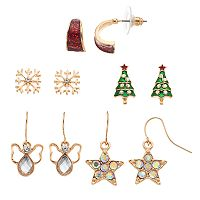 Christmas Tree, Snowflake, Angel & Star Nickel Free Drop Earring Set