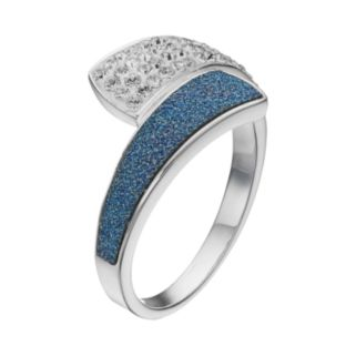 Brilliance Silver Plated Glitter Bypass Ring with Swarovski Crystals