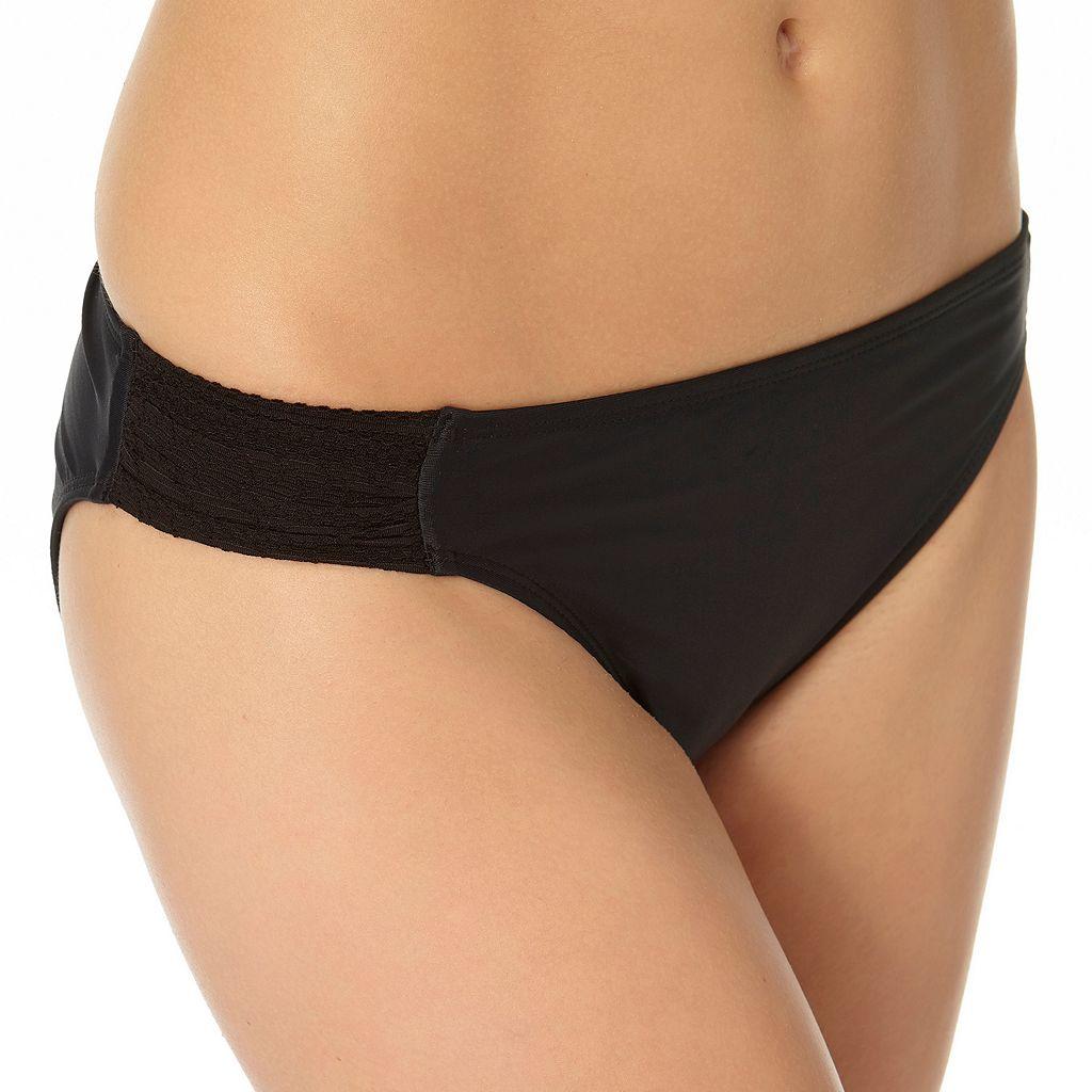 In Mocean Solid Shirred-Side Bikini Bottoms