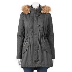 Juniors' Urban Republic Twill Faux-Fur Anorak Jacket