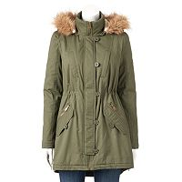 Juniors' Urban Republic Twill Faux-Fur Anorak Jacket