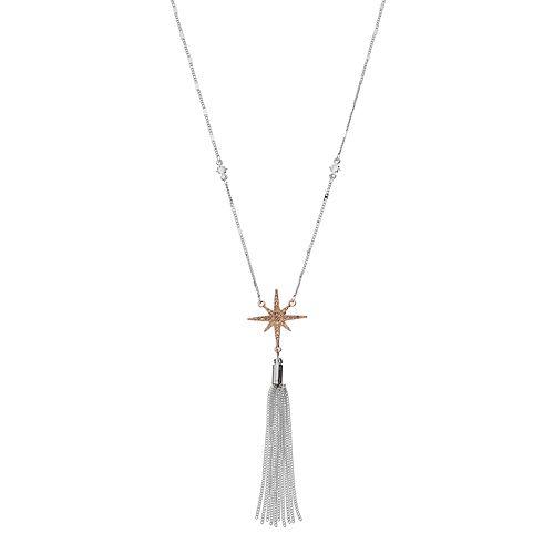 LC Lauren Conrad Long Two Tone Tassel Starburst Necklace