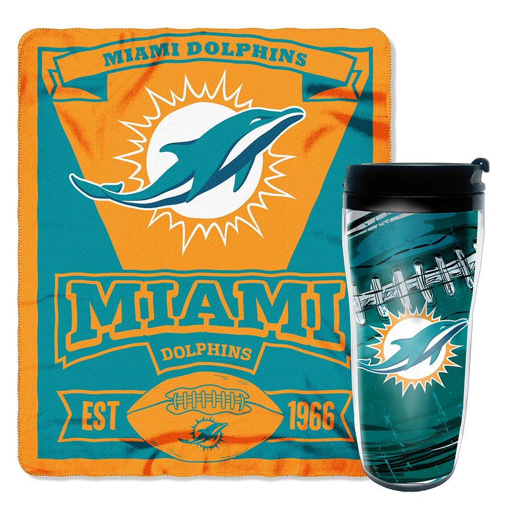 Miami Dolphins Mug N' Snug Throw & Tumbler Set by Northwest