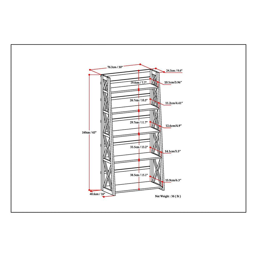 Simpli Home 5-Shelf Ladder Bookcase