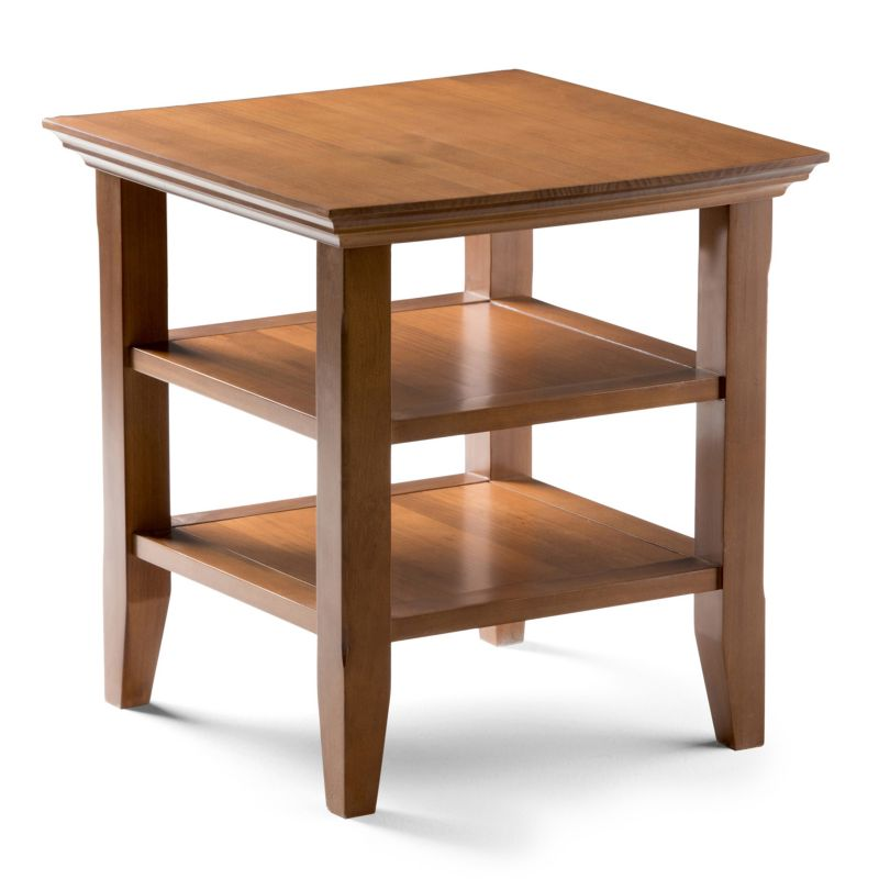 Simpli Home Acadian End Table, Brown