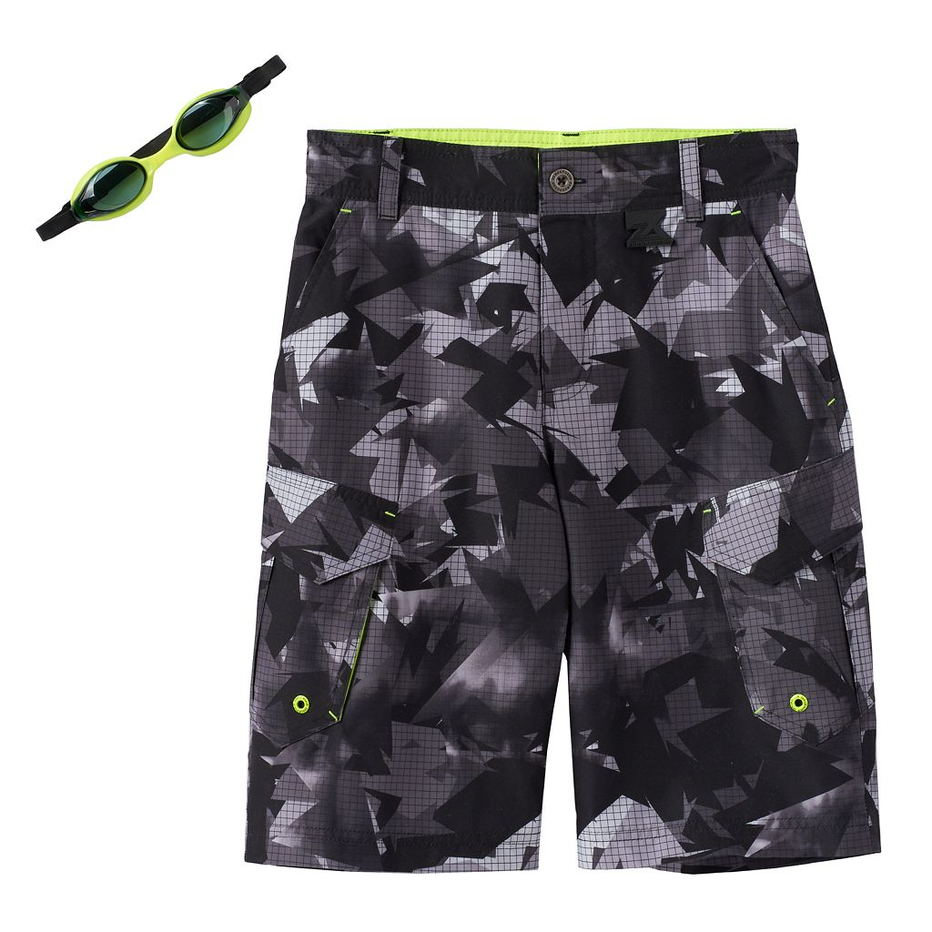 Boys 8-20 ZeroXposur Abstract Geometric Swim Trunks with Goggles