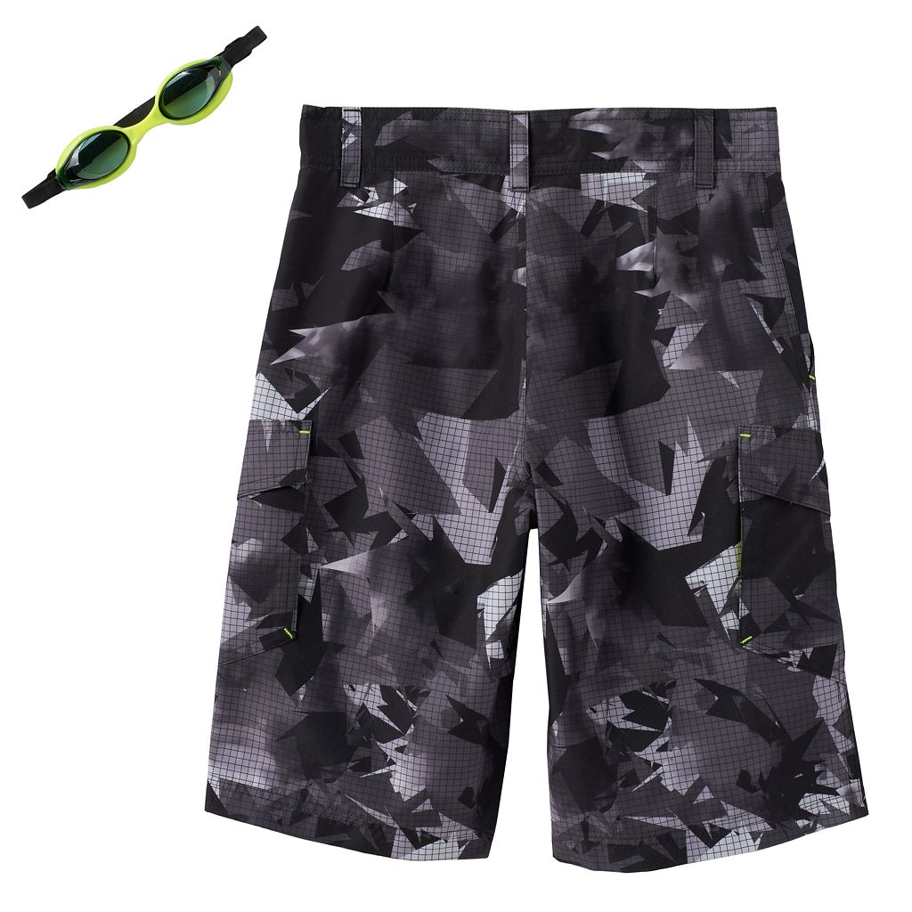 Boys 8-20 ZeroXposur Abstract Geometric Swim Trunks with Goggles