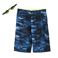 Boys 8-20 ZeroXposur Abstract Camo Swim Trunks with Goggles