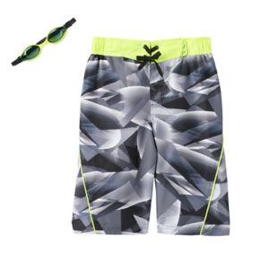 Boys 8-20 ZeroXposur Geometric Swim Trunks with Goggles